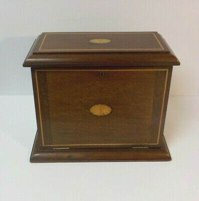 Mahogany Inlaid Letter, Stationary Box, Fitted Interior, Drop Front
