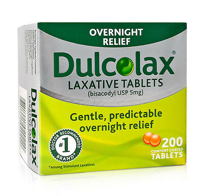 200 Dulcolax Laxative Tablets (bisacodyl USP 5mg), Brand-New-In-Box, EXP 09/2021