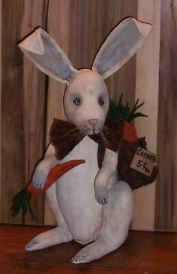 New Primitive Folk Art Grungy LITTLE LIZZIE BUNNY DOLL Egg Rabbit Easter Spring
