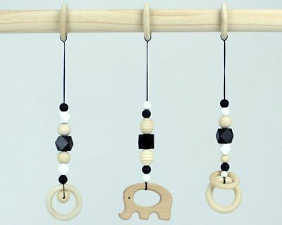 Baby gym toys wooden natural hanging monochrome nursery decor black white wood