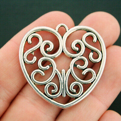 SC4201 20 Heart Charms Antique Silver Tone