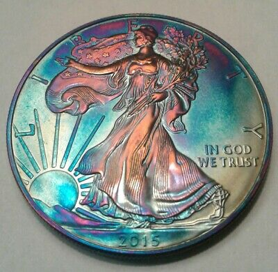 2015  american silver eagle  dollar with beautiful toning,  TONED $