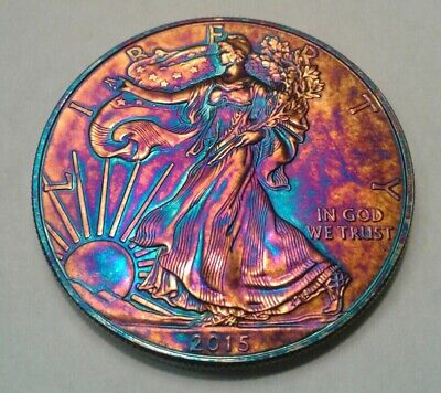 2015  american silver eagle  dollar with beautiful toning,  TONED $..
