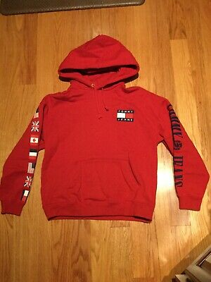 f2535058 Red Tommy Hilfiger Jeans 90' s Capsule Collection Men's Flag Hoodie  Sweatshirt