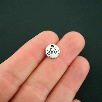 5 Bicycle Charms Antique Silver Tone Small Size Great Detail - SC7055