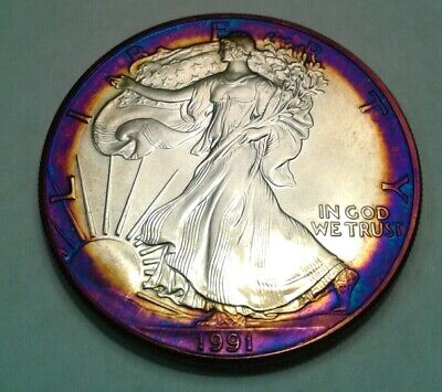 1991  american silver  eagle dollar with beautiful toning, * TONED $..