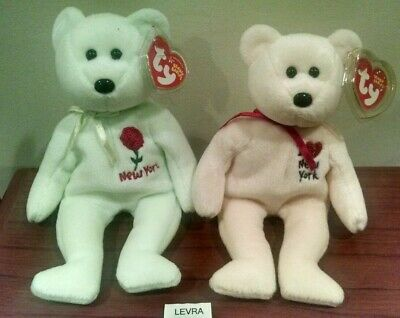 5edd5075546 2 lot I LOVE NY   NEW YORK ROSE Ty BEANIE BABIES State Bears new MWMT