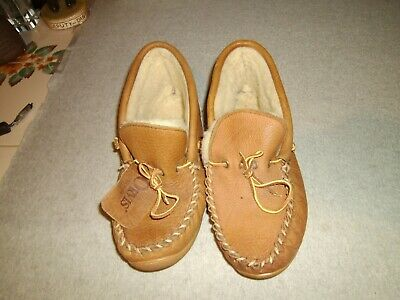 a1dfb65a6ba08 Mens Rare Orvis Brown Leather Sheepskin Slippers Moccasins Mocs Size 9 Made  Usa