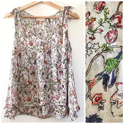 d1521a80953b0 Modcloth Womens Bird   Floral Print Tiered Flowy Tank Top A3 Size Small