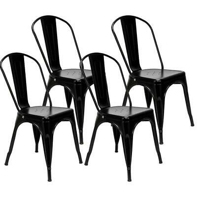 4PCS Industrial Style Dining Side Chair Arm Chairs Stackable Metal Stool Black