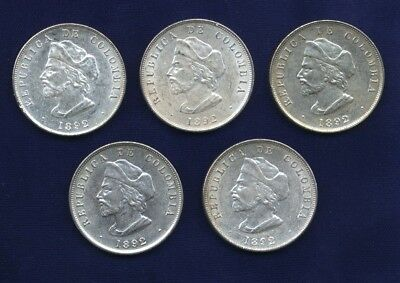 "COLOMBIA REPUBLIC 1892  50 CENTAVOS SILVER COINS ""COLUMBUS"" LOT OF (5), XF to AU"