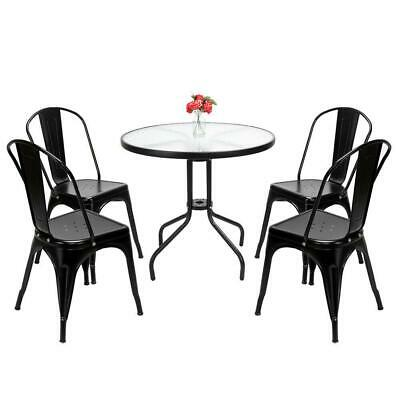 4pcs Tolix Style Dining Side Chair Arm Chairs Stackable Bistro Metal Stool Black
