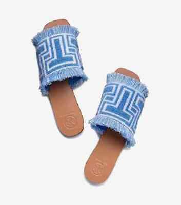 a9fbd054b72af TORY BURCH TOWEL T Flat Slide BLUE BIRD Size 9.5M Brand New in Box SOLD OUT