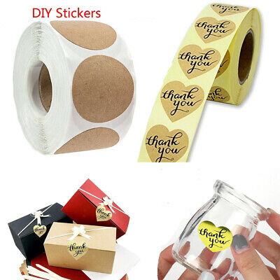 Hot 500X/Roll Kraft Handmade Stickers Package Label Sealing Stickers Party Decor