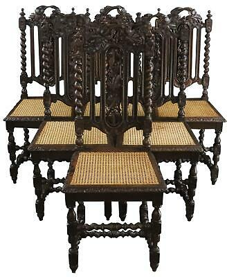 Dining Chairs Antique French Hunting Renaissance Set 6 Carved Oak Rattan Ca