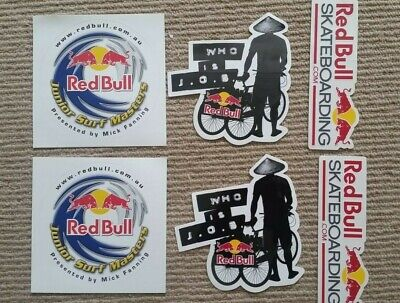 6 x Red Bull brand stickers - surfing