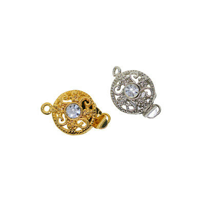 5PCS Crystal Copper Rhinestone Clasp Round Filigree Jewelry Making Connector
