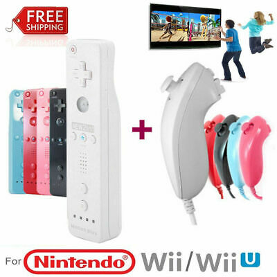 For Nintendo WII Remote Nunchuck Controller w/Silicone Case Wrist Strap Wireless