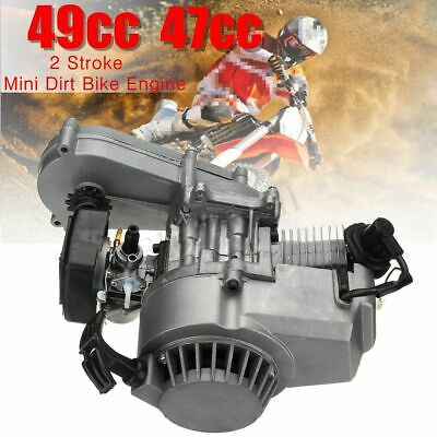 49cc Complete Engine Motor 2-Stroke Pull Start Mini Dirt Bike Transmission Carb