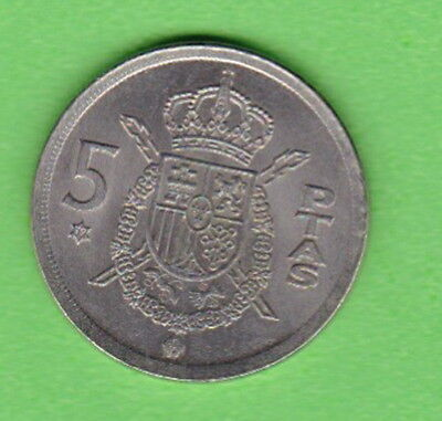 SPAIN 1975: Juan Carlos I --  5 Pesetas, 1975 Copper/Nickel - Low Mintage KM:807