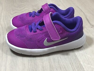 factory authentic e6dc0 f0afc NIKE Kids  Revolution 3 (TDV) Running Shoe Purple white 7C Display shoes