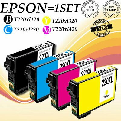 US 4pk CMYK for Epson 220 XL T220XL Ink Cartridges Expression XP-320 WF-2630