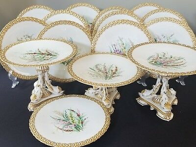C19Th Royal Worcester Gilded Botanical Plates & Tazzas