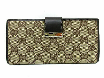 eda3291a1e3 Authentic GUCCI GG Canvas Long Wallet 74210 Leather Brown Great 64398