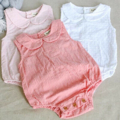 Newborn Baby Girl Solid OnePieces Romper Bodysuit Jumpsuit Outfit Sunsuit Summer