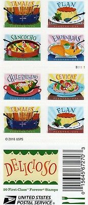 One Book Of 20 Delicioso Usps First Class Forever Postage Stamps #b11111