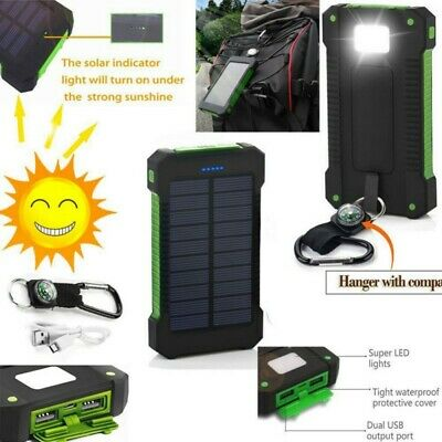 US 50000mah 2 USB Waterproof Solar Power Bank Battery Charger for Cell Phone
