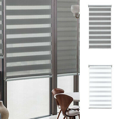 Window Roller Blinds Day And Night Zebra Vision Striped Multi Sizes White / Grey