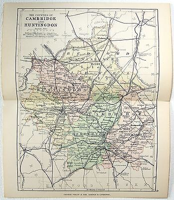 Original 1891 Map of The Counties of Cambridge & Huntington England by G Philip