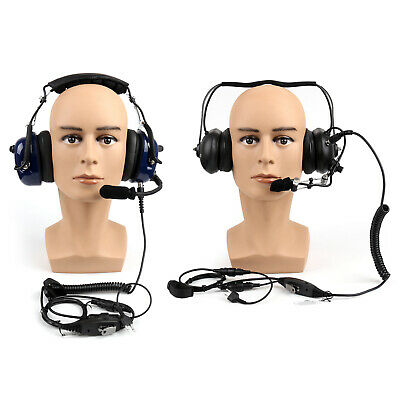 2Pin Heavy Duty Noise-Reduction Headset PTT For Icom IC-V8 IC-F4TR Black Blue A0