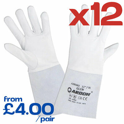 12 Pairs GLEN Welding Gloves PPE Heat Resistant Leather Goatskin Gauntlets