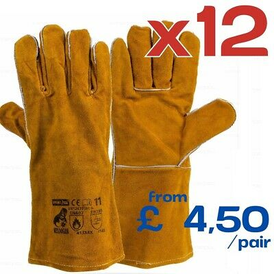 12 Pairs WELDOGER Welding Gloves Heat Resistant PPE Leather Cowskin Gauntlets