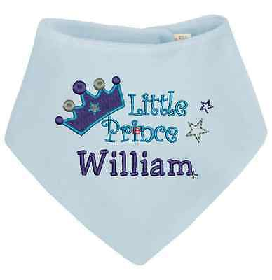 Personalised Baby Boy Bandana Dribble Bib -  Prince Design.  Embroidered.