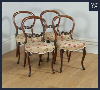 Antique English Victorian Set of Four Walnut Balloon Back Dining / Salon Chairs