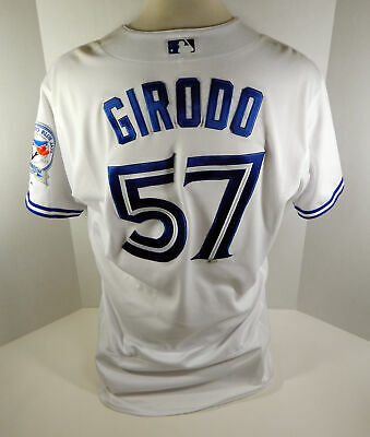 9b7b7d5c8 2016 Toronto Blue Jays Chad Girodo  57 Game Used White Jersey 40th Anv Patch