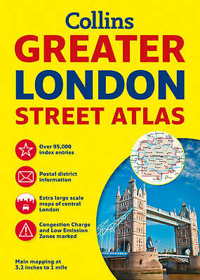 Collins Greater London Street Atlas by Collins Maps, Acceptable Used Book (Paper