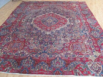 A WONDERFUL OLD HANDMADE SABZEH VARE ORIENTAL CARPET (354 x 267 cm)