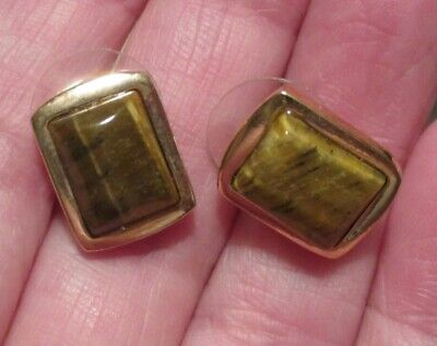 Vintage designer Roman tiger's eye earrings small pierced Brown jewelry Goldtone