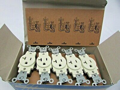 Lot Of 4 Leviton Industrial 20A 125V Single Receptacle Ground (Almond)