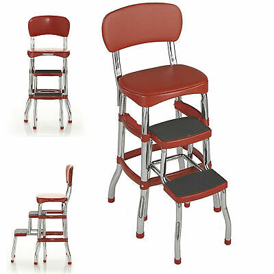 Step Stool Chair Red Retro Counter Padded Vintage Style Kitchen Pantry Ladder