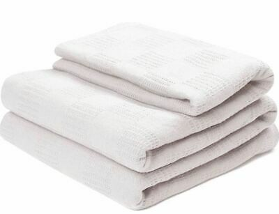 1 NEW HOSPITAL THERMAL FULL/QUEEN BED SPREAD BLANKET 74x100 100% COTTON