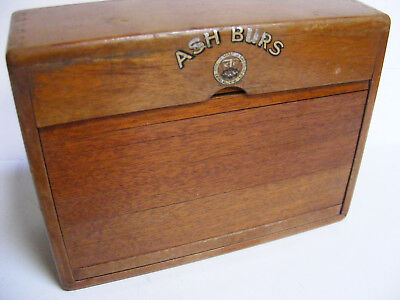Early Dovetail Wood DENTIST SLIDE LID BOX England Amalgamated Dental Co ASH BURS