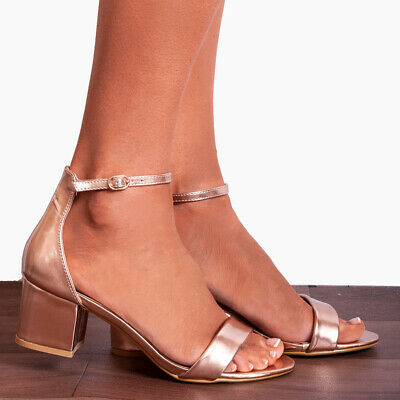 3191a15f9d7 ROSE GOLD GLITTER Low Heeled Ankle Peep Toes High Heels Strappy ...