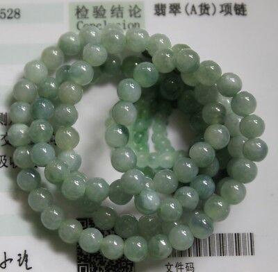 Gemstone Certified Grade A Natural Icy Green Jadeite Jade Small Beads Necklace