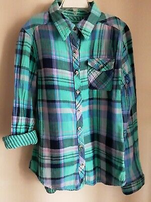 529aa4f0023d Mudd Purple Blue Turquoise Plaid Flannel Button-down Shirt Girl's Size 14
