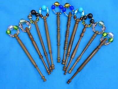 5 Prs (10) Lace Bobbins Spangled With Quality Beads Into Matching Pairs  D Wood.